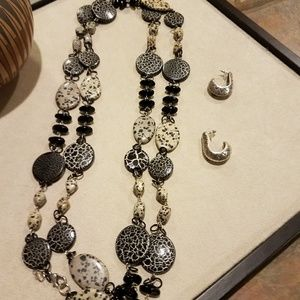 Chico's 65 inch necklace and silver earring